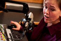 Jess Cannon works on a story for the internet radio station BYU-IDAHO RADIO