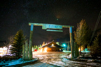The BYU-Idaho Badger Creek Outdoor Learning Center at night.