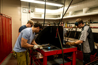 Students from the welding program, work on projects during class in the Austin Building.