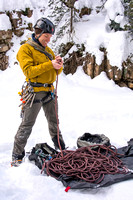Scott Hurst, Outdoor Resources Supervisor, prepares to climb the ice wall before he and students will be climbing that day.