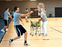 Tennis class in the I-Center courts taught by Lary Duque.