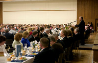 Joe Marsden, Alumni President speaking at the Brigham Young University-Idaho graduation banquet April 28