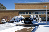 Oscar A. Kirkham Building. A major winter storm dumped eight to ten inches of snow over two days leaving campus in a blanket of white.