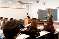 Matthew Whoolery's Psychology class, students listening and participating in class discussions.