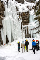 Scott Hurst, Outdoor Resources Supervisor, demonstrates to students how to ice climb.