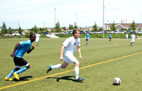 Competitive Men's Soccer being played at the 4-Plex playing fields west of the Rexburg Idaho Temple.