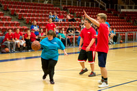 Bob Christensens Special Education class puts on a great show in the Hart Gym playing basketball.