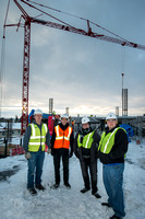 Civil Engineering instructor Nathan Harris and couple of his students, (Eric and Eric) take a tour of the headwaters construction project across from Hemming Village in Rexburg Idaho.