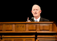 President Clark and Sister Clark speak at devotional