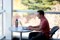 Andrew White, a senior majoring in Marriage and Family Relations, studies in a quiet corner in the Rick's Building.