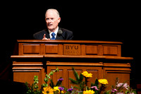 President and Sister Clark speak at the first tuesday devotional held in the new BYU-Idaho Center Auditorium.