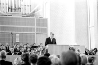 President Henry B. Eyring addressing the audience at the dedication of the Taylor Building