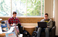 Students in the David O. McKay Library.