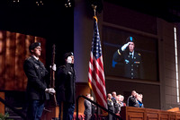ROTC members of Brigham Young University-Idaho presenting the colors at convocation of the Spring 2016 semester. Photo by Ryan Chase.