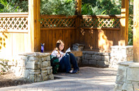 Students studying in the Thomas E. Ricks Gardens