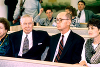 President James E. Faust and President Henry B. Eyring at the dedication service of the Taylor Building
