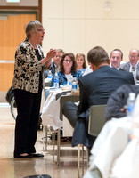 Dr. Maryellen Weimer addresses the faculty during a luncheon. Maryellen Weimer, Professor Emerita of Teaching and Learning at Penn State Berks, edits The Teaching Professor, a monthly higher education