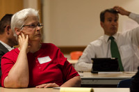 Lynn Firestone listens to Janiel Nelson teach a class during the BYU-Idaho Faculty Conference