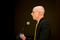 VP Henry Eyring introduces Dr. Maryellen Weimer, who addresses the faculty during a luncheon.