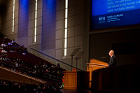 Elder Don R. Clarke, Emeritus General Authority, speaks at devotional.