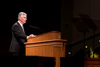 Presiding Bishop, Gérald Caussé, speaks to BYU-Idaho students at devotional. Photo by Ryan Chase
