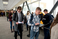 Fall 2016 Finals: students wait in line for over two hours to take a test in the Testing Center.