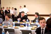 Faculty enjoy a luncheon with Clayton Christensen, the Kim B. Clark Professor of Business Administration at the Harvard Business School