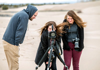 University Relations Photographers, Courtney Thomas and Emily Gottfredson and Emily's friend Mike. Field trip to the sand dunes for a change of scenery and to get a group photo.