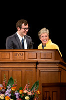 Sister Rosemary Wixom speaks at Devotional.