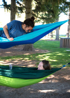 Students love to put up hammocks at Porter Park during the Spring semester.