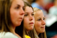Education Week attendees listen attentively to a Devotional address.