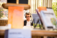 Student listens to music as he studies in the David O. McKay Library wing.