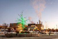 Christmas lights brighten up campus and bring in the Holiday Season. The Central Energy Facility is seen in the background. 2017