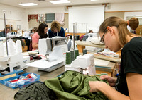 Students in Genet Ormes Apparel Entrepreneurship class work on their final project.