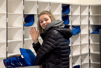 Allison McDonell loads up the sorted mail to make a delivery.