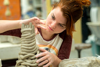 Students work on their clay projects in Art 220, a beginning ceramics class taught by Rich Briggs. Bethany Bosworth, Feb 2018