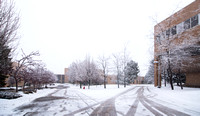 The campus is covered with snow.