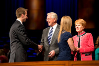Elder and Sister Christofferson greet students after devotional at Brigham Young University-Idaho