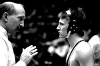 1989 Ricks College Wrestling coach Bob Christensen has a talk with one of his wrestlers.