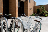 Student's bikes placed in front of the Snow Building.
