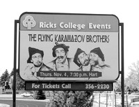 """The Flying Karamazon Brother's"" billboard advertising their show - Center Stage - Oct 1993"