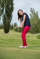 BYU-Idaho student, Brittany Meldrum enjoys playing golf at the Teton Lakes Golf course. photo for Admissions Viewbook.