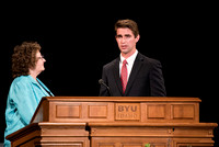 BYU-Idaho Devotional. Guest speaker Deanna Hovey inviting students to talk about their experiences. Jul 2018