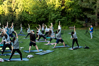 Students participate in the Yogathon activity in the Ricks Gardens on the BYU-Idaho Campus.