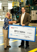 Rocky Mountain Power presents BYU-Idaho with a check for being Watt Smart. 2016