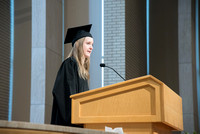 Katelyn Hartley, Family and Consumer Sciences graduate speaks at the Convocation of the Home and Family in the Taylor Chapel.