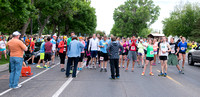 Runners gather at the starting line before The Teton Marathon begins.
