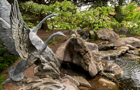 A water feature in the Thomas E Ricks Gardens at BYU-Idaho. Swans by sculpted by Gary Price.