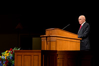 Dallin H. Oaks speaks to students at Brigham Young University-Idaho  about basic principles of the Gospel pertaining to God. Photo by Ryan Chase.
