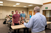 Brother Duane Adamson talks to his Political Science class in the Hinckley Building during the 2014 Spring Semester.